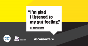 Scam Aware FB - speech bubble